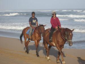 Couple riding horses down the beach