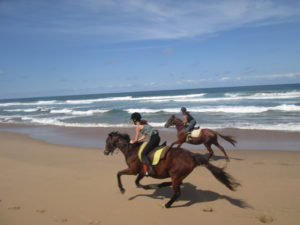Two teenagers taking a fun gallop on the beach